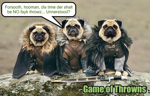 dogs,Game of Thrones,fetch,puns,pugs