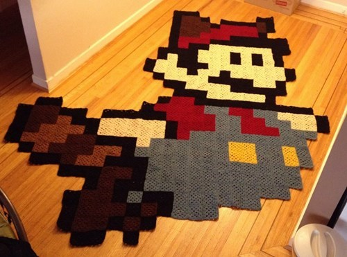 design,mario,funny,nerdgasm,video games,Knitta Please