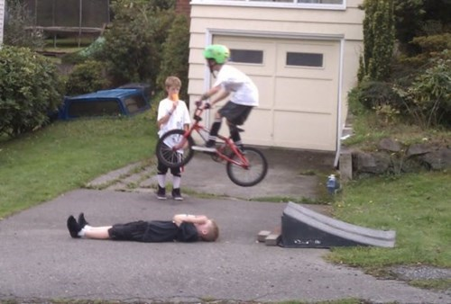 bikes,funny,right in the crotch,ouch