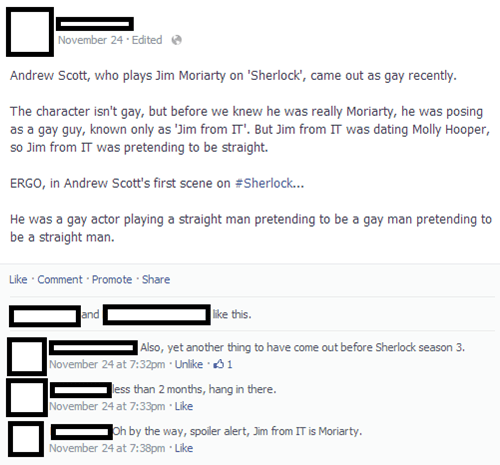 i love that sassy first comment facebook Sherlock bbc - 7923986432