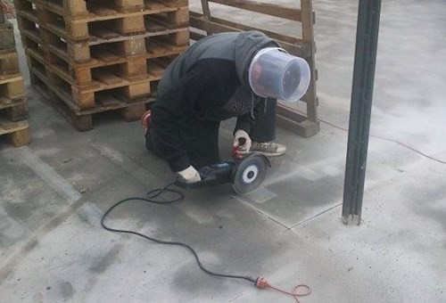 helmet,circular saw,bucket,there I fixed it,g rated