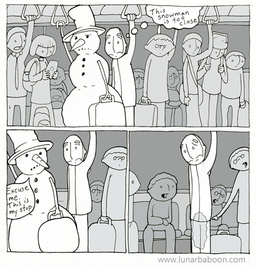 public transportation,funny,snow man,web comics