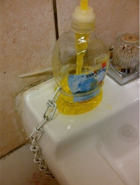 there I fixed it,chain,soap dispenser,zip ties