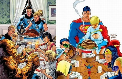 DC,marvel,norman rockwell,thanksgiving,everyone's doing it,off the page