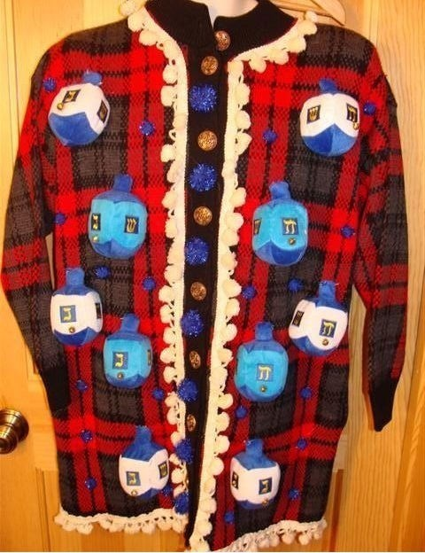 fashion FAIL ugly sweater hanukkah dreidels - 7925868800