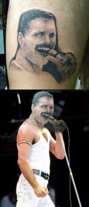 bad,funny,freddy mercury,rip,tattoos,g rated,Ugliest Tattoos