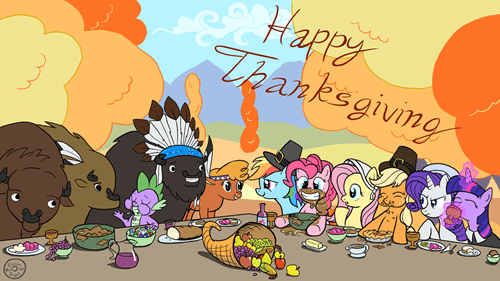 buffalo MLP mane 6 thanksgiving - 7926067712