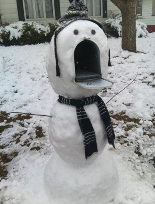 funny,hacked irl,mailbox,snowman,winter