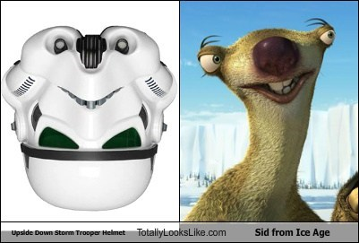 Upside Down Storm Trooper Helmet Totally Looks Like Sid from Ice Age