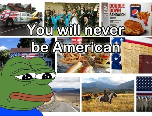 sad frog you will never be american - 7928237056