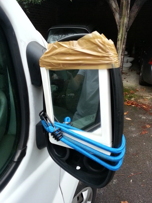 cars,there I fixed it,tape,bungee cords,side mirrors
