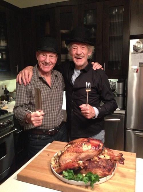 bff,patrick stewart,ian mckellan,thanksgiving