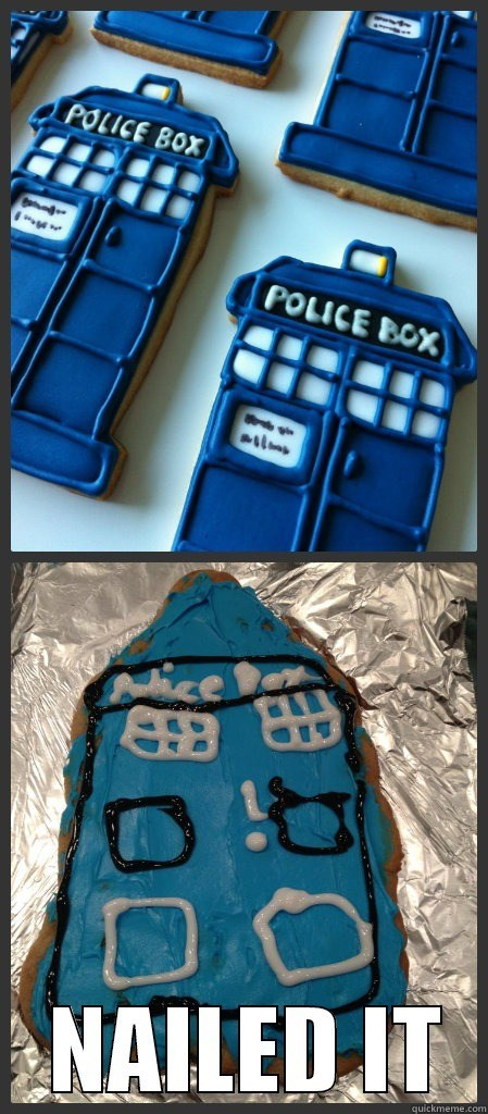 you tried,tardis,doctor who,cookies,noms,Nailed It