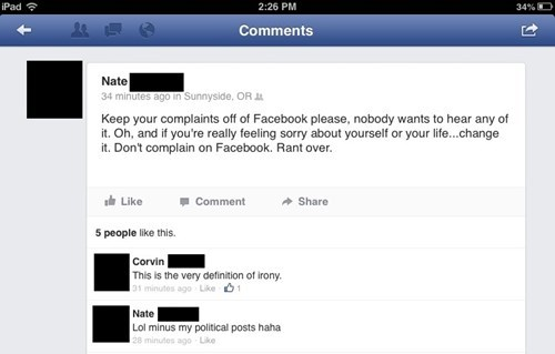 complaining,Hypocrisy