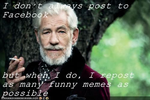 I don't always post to Facebook  but when I do, I repost as many funny memes as possible