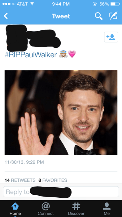 Justin Timberlake paul walker twitter - 7933690368
