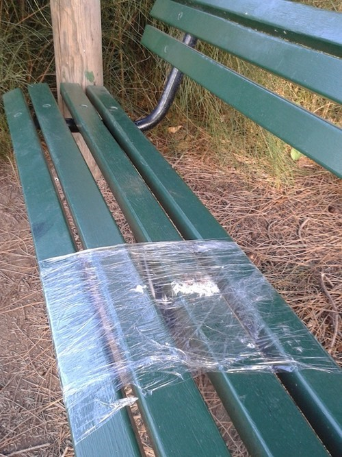 plastic wrap,park bench,there I fixed it