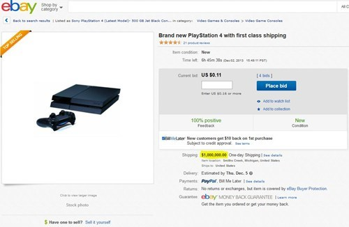 ebay,shipping,PlayStation 4,ripoff