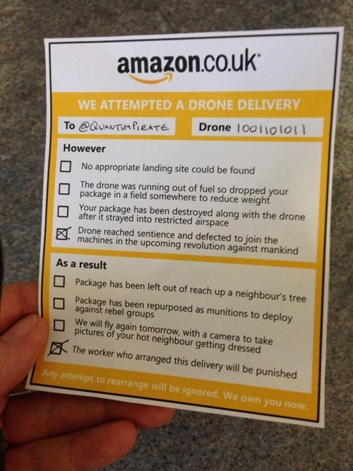 amazon drones fake but funny - 7934392576