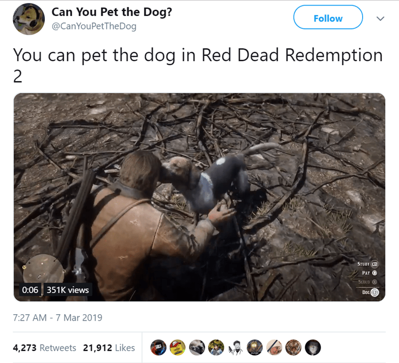 Twitter that checks if dogs are pettable in video games or not
