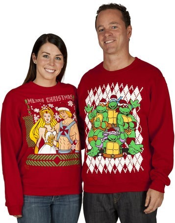 christmas,teenage mutant ninja turtles,fashion,sweaters,he man,80s,g rated,poorly dressed