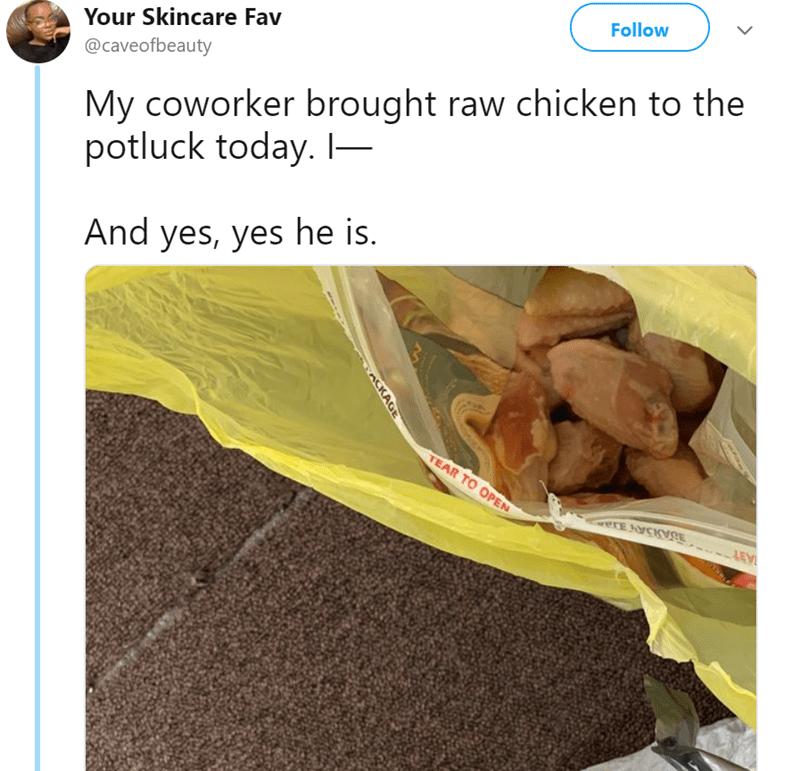 raw chicken Office live tweet funny tweets coworkes - 7935493