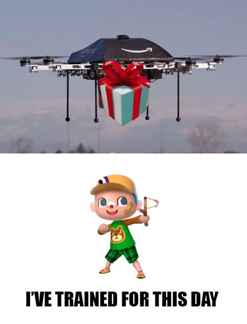 amazon,packages,animal crossing,drones