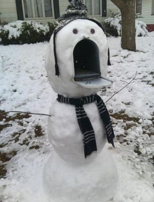 mailboxes,there I fixed it,snowman