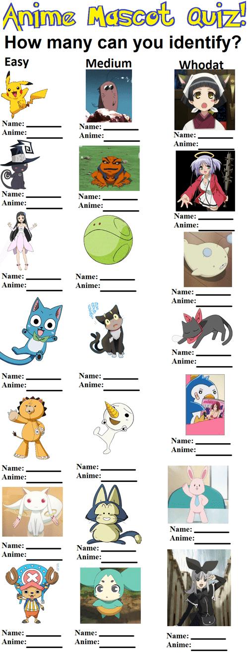 anime mascots quizzes - 7936540672