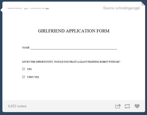 application,funny,girlfriend,giant robots,dating,g rated