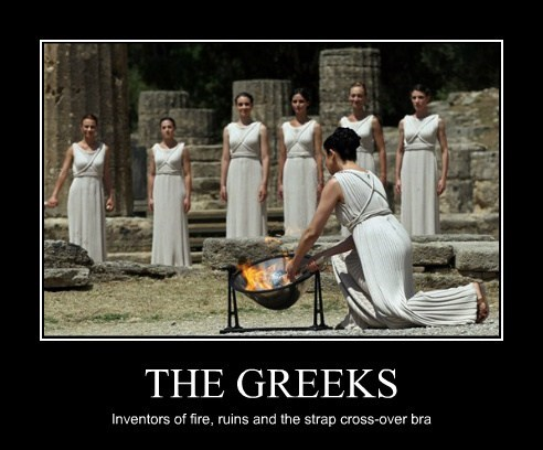 THE GREEKS Inventors of fire, ruins and the strap cross-over bra