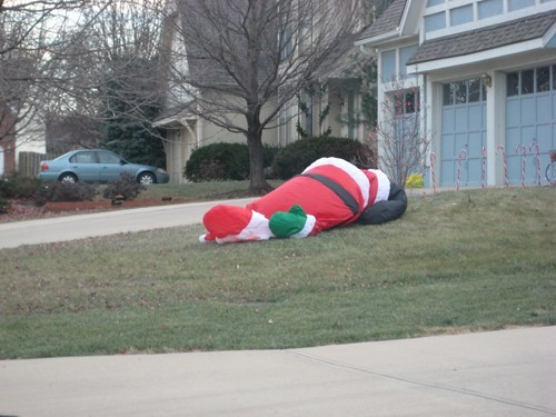 Santa Passed Out on the Lawn
