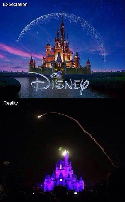 expectations vs reality,disneyland,fireworks