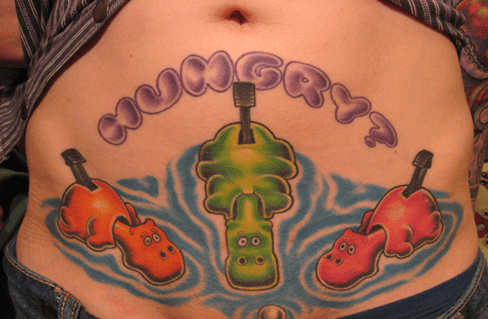 wtf,tattoos,hungry hungry hippos