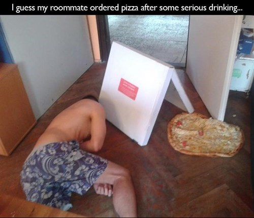 drunk funny passed out pizza wtf - 7939554048
