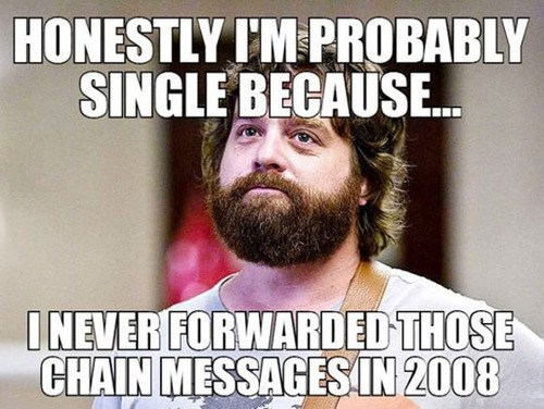 chain mail forever alone single spam