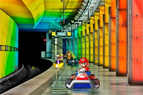 Mario Kart,rainbow road,rainbows