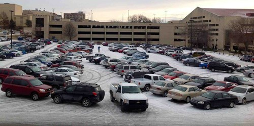cars driving snow parking lots parking lines parking lanes g rated monday thru friday - 7940160512