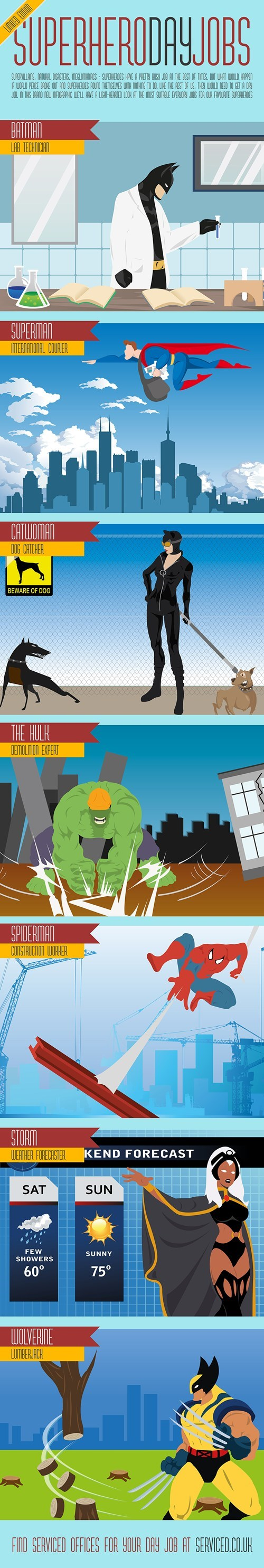 day job superheroes infographic - 7940793344