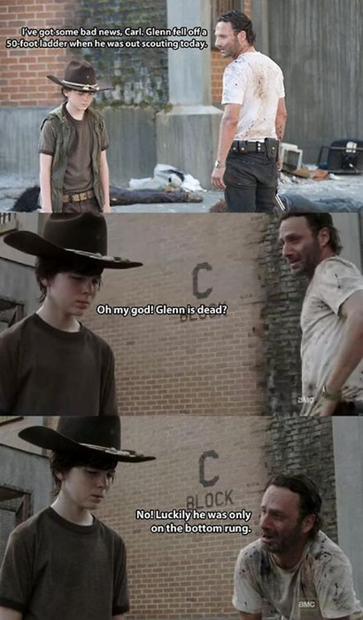 carl grimes,Rick Grimes,The Walking Dead,Walking Dad Jokes,parenting