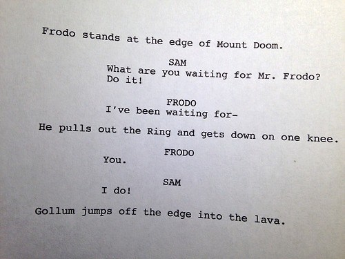Frodo Baggins gay marriage Lord of the Rings script samwise gamgee