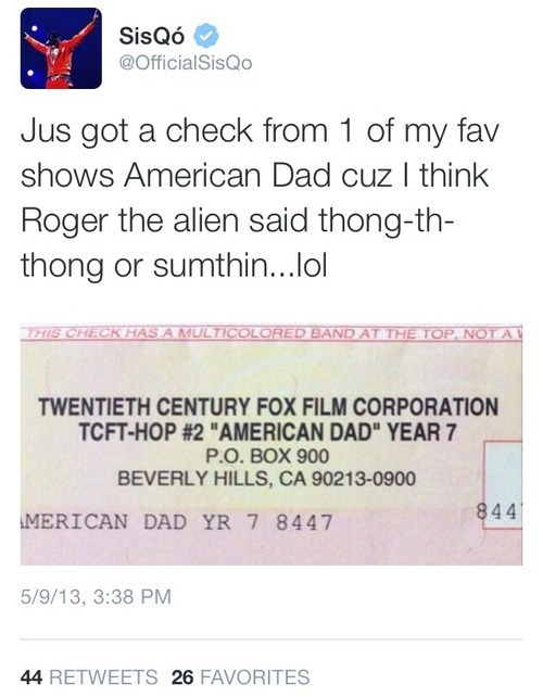 american dad,sisqo,royalties,thong song,celebrity twitter