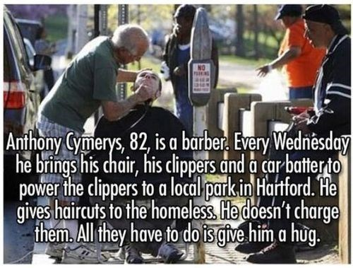 haircuts,restoring faith in humanity week,acts of kindness