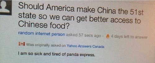 america Canada chinese food yahoo answers - 7941411584
