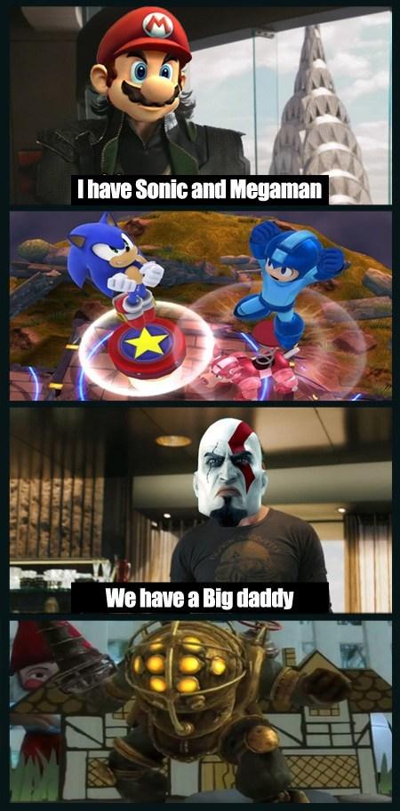 nintendo,big daddy,playstation all-stars,super smash bros,kratos