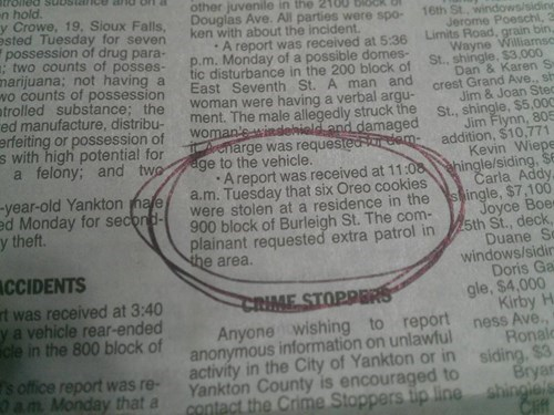 newspaper Probably bad News Oreos slow news day small town