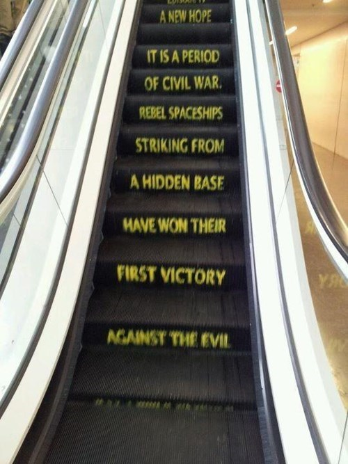 escalator,star wars,nerdgasm,temporarily stairs