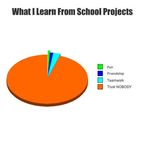 school,group projects,pie graph,trust