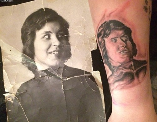 bad horrible portraits tattoos
