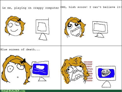 computers,blue screen of death,high score,trollface